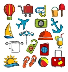 Travel trip and leisure icons vector