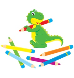 Little dinosaur and pencils vector