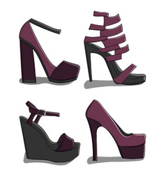 a set of summer female shoes with high heels in vector image