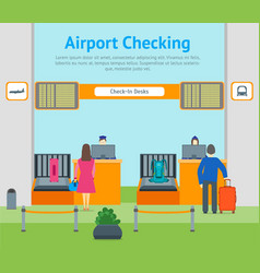 cartoon airport check in card poster vector image vector image
