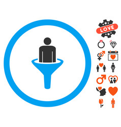 Client funnel icon with valentine bonus vector