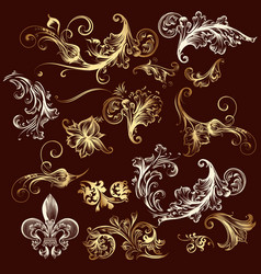 Collection of ornaments in gold vector