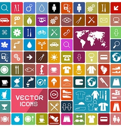 Colorful Rounded Squares Flat Icons Set vector image vector image
