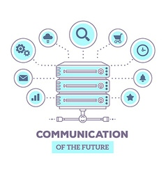 Creative infographic of data server with ico vector
