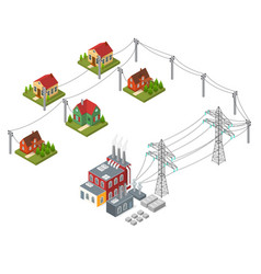electricity power station isometric view vector image vector image