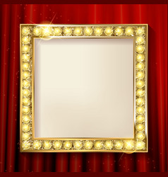 Empty golden painting frame on red curtain wall vector
