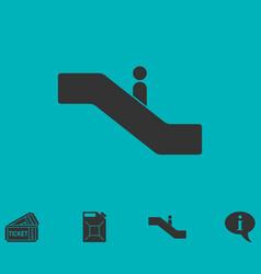 Escalator icon flat vector