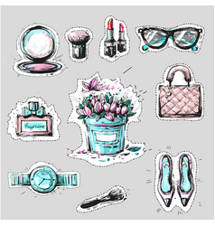Fashion elements stickers or badges hand drawn vector