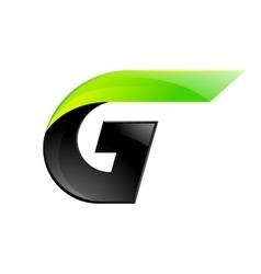 G letter black and green logo design fast speed vector