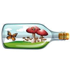 Garden in glass bottle vector image
