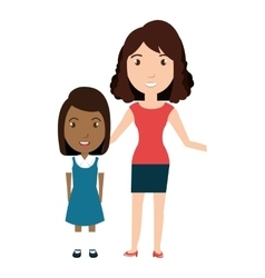 Girl student character with teacher isolated icon vector
