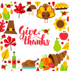Give thanks concept with lettering vector