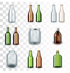 glass bottles icons set vector image vector image