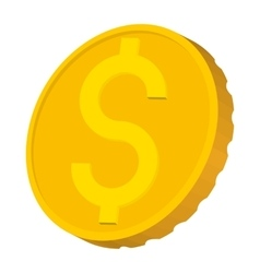 Gold coin with dollar sign icon cartoon style vector