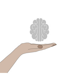 human hand holding a brain vector image