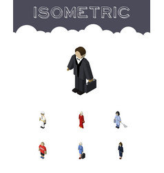 Isometric people set of businesswoman female vector