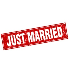 Just married red square grunge stamp on white vector