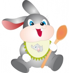 rabbit with spoon vector image vector image