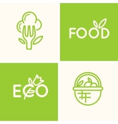 Set logo food and natural product vector image vector image