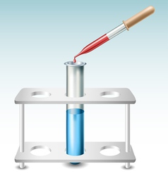 Test tube with holder and pipette vector