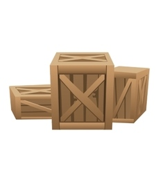 Three large wooden boxes for transportation vector image vector image