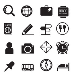 Traveling and transport silhouette icons set vector