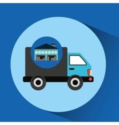 Warehouse building delivery van service vector