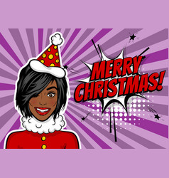 Woman pop art greeting christmas vector