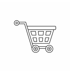 Basket on wheels icon outline style vector