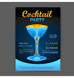 Disco cocktail party poster 3d cocktail design vector