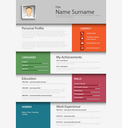 Professional colored resume cv template eps vector