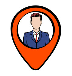 Map pointer with businessman icon icon cartoon vector