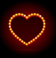 light bulbs vintage neon glow heart frame vector image