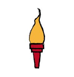 Cartoon medieval torch flame light vector