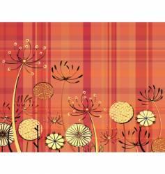 Tartan flowers vector