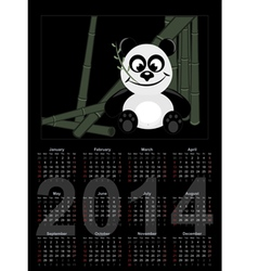 2014 Calendar with panda vector image vector image