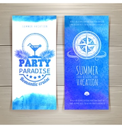 Set of blue watercolor summer banners vector