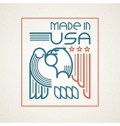 Made in the usa symbol with american flag and vector