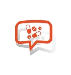 Drugs message sticker orange vector