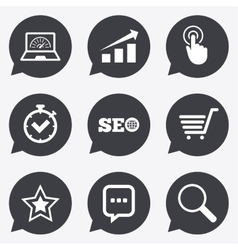 Internet seo icons online shopping charts vector