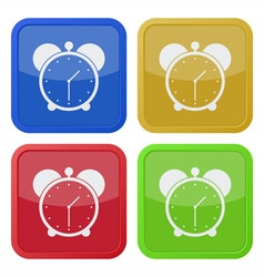 Set of four square icons with alarm clock vector