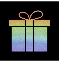 Gift box icon watercolor effect vector