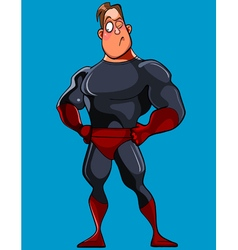 Cartoon muscular man in a superman costume stands vector