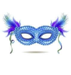 Blue venetian carnival mask with feathers vector