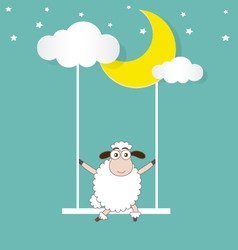Sheep swinging on a moon and cloud vector