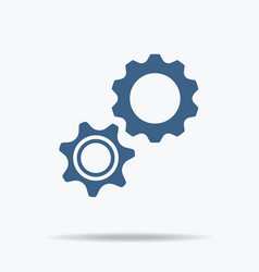 Blue gear icon single flat icon on white vector