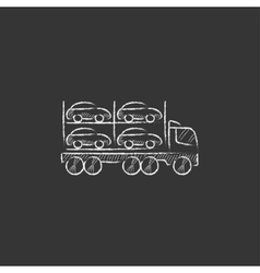Car carrier drawn in chalk icon vector