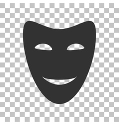 Comedy theatrical masks dark gray icon on vector