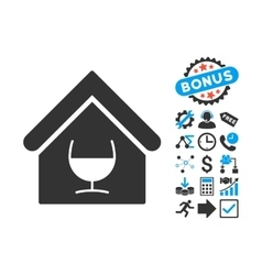 Alcohol Bar Flat Icon with Bonus vector image vector image