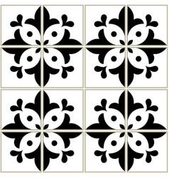 azulejos tiles pattern - portuguese floral design vector image vector image